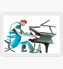 Pianist Musician Expressive Drawing Transparent Sticker