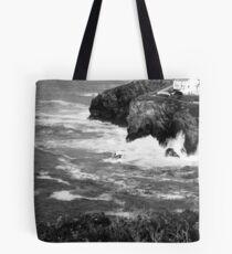 Achromatic coastline Tote Bag