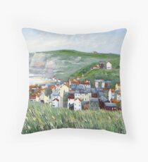 View from Cowbar, Staithes. Throw Pillow