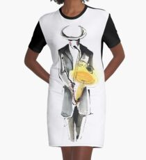 Saxophonist Musician Drawing Graphic T-Shirt Dress
