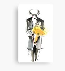 Saxophonist Musician Drawing Metal Print
