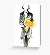 Saxophonist Musician Drawing Greeting Card