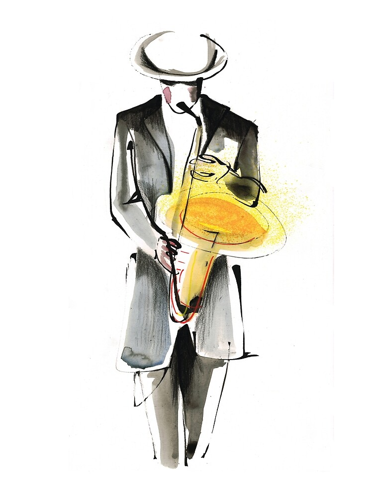 Saxophonist Musician Drawing by CatarinaGarcia