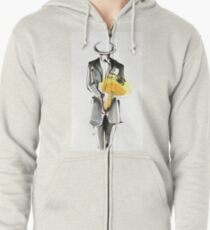 Saxophonist Musician Drawing Zipped Hoodie