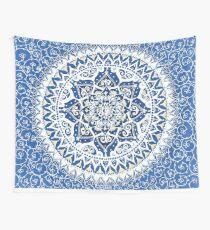 Yin Yang Mandala Pattern (Blue & Yellow) Wall Tapestry