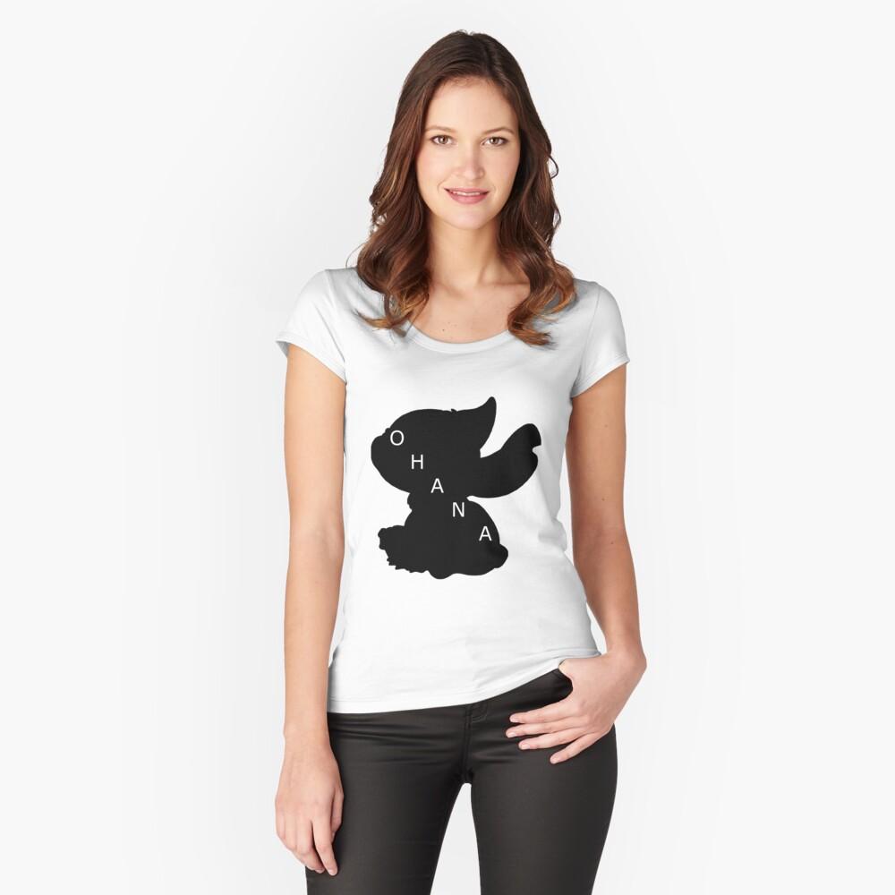 Stitch ama a Ohana Camiseta entallada de cuello ancho