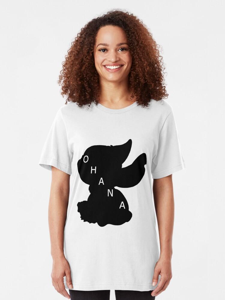 Vista alternativa de Camiseta ajustada Stitch ama a Ohana