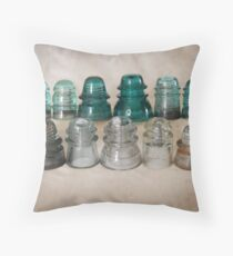 Vintage Glass Insulators  Throw Pillow