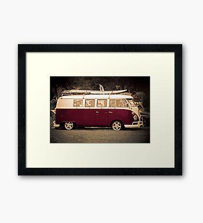 Camper van surfs up old skool  Framed Print