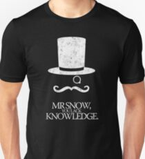Mr Snow, You Lack Knowledge - White on Black T-Shirt