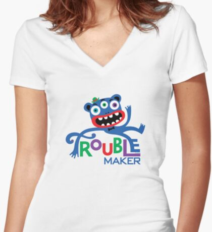 Trouble Maker III - on lights Women's Fitted V-Neck T-Shirt