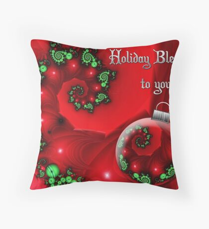 Holiday Blessings Card Throw Pillow