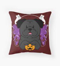 Licorice the Black Pug Throw Pillow