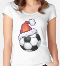 Soccer Ball Christmas Women's Fitted Scoop T-Shirt