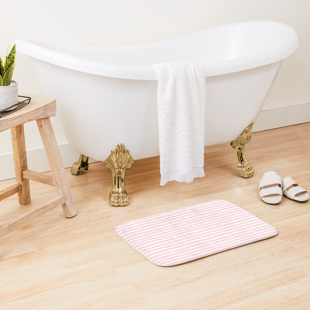 Watercolor Pink Stripes with Elephants  Bath Mat