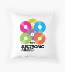 100% Electronic Music Throw Pillow