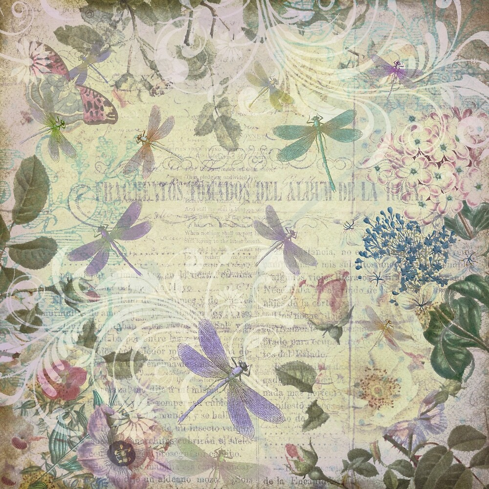 Vintage Botanical und Libellen von Peggy Collins