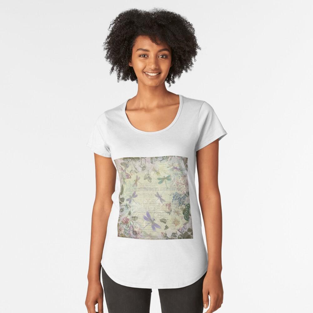 Vintage Botanical und Libellen Premium Rundhals-Shirt