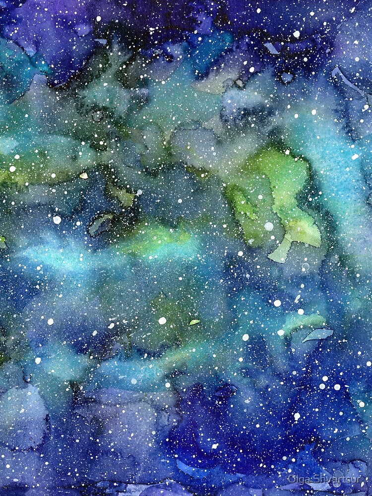 Watercolor Galaxy Painting Nebula Art by olga-shvartsur