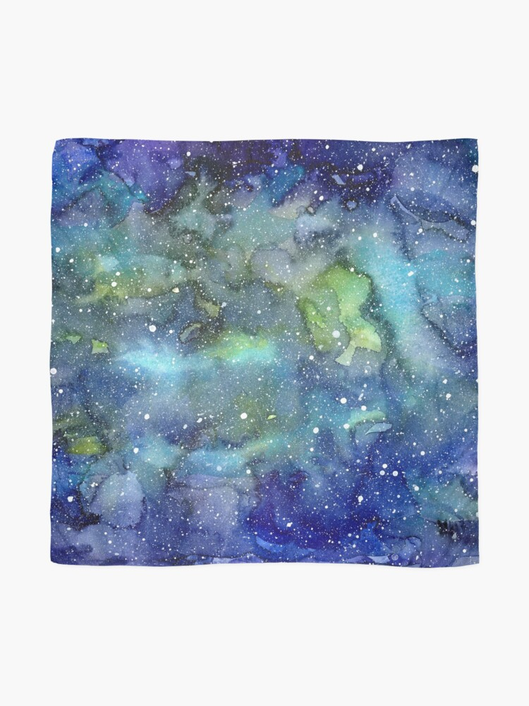 Alternate view of Watercolor Galaxy Painting Nebula Art Scarf