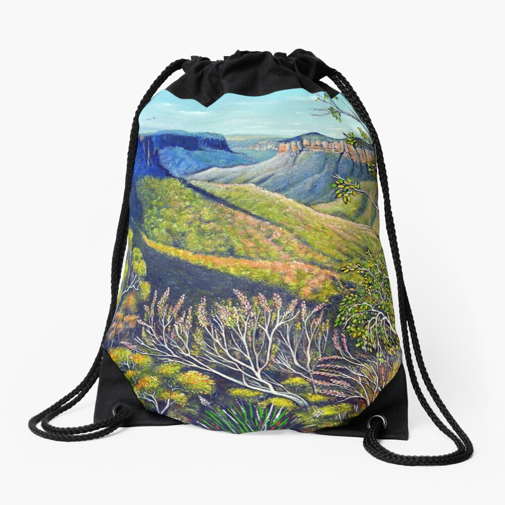 Govetts Leap Lookout, Blue Mountains Drawstring Bag