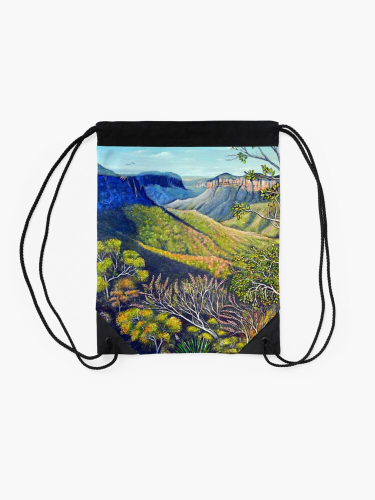 Alternate view of Govetts Leap Lookout, Blue Mountains Drawstring Bag