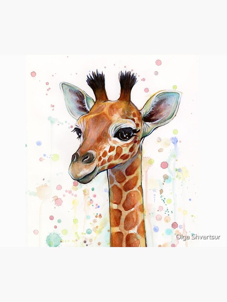 Baby-Giraffe-Aquarell-Malerei, Kinderzimmer-Kunst von olga-shvartsur