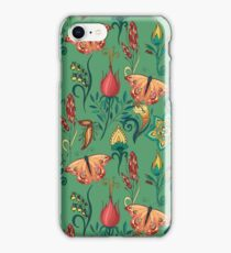 Floral green pattern with butterflies iPhone Case/Skin