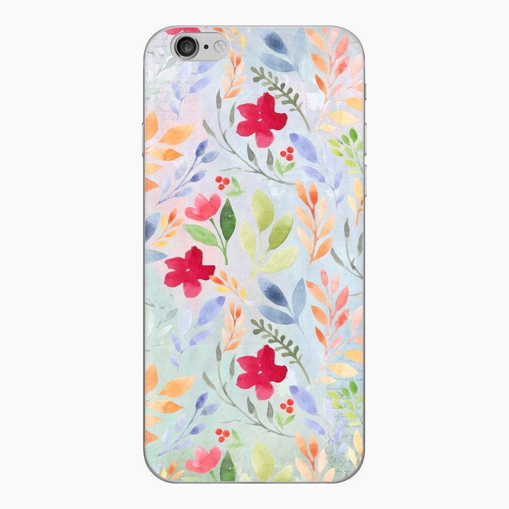 BlumenSkript-Muster - blaues Immergrün iPhone Klebefolie