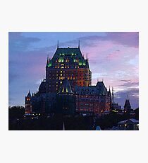 Dusk At The Chateau Frontenac In Quebec City Photographic Print