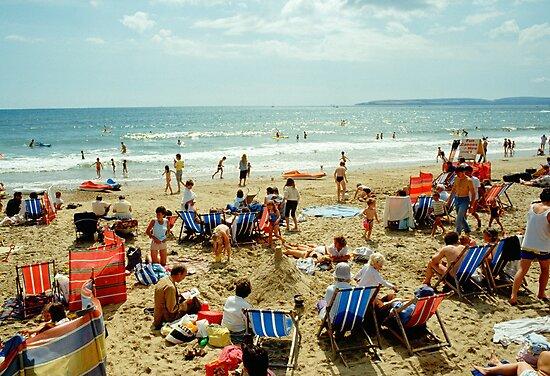A busy Bournemouth beach, England, 1980s by David A. L. Davies
