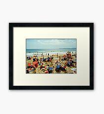 A busy Bournemouth beach, England, 1980s Framed Print
