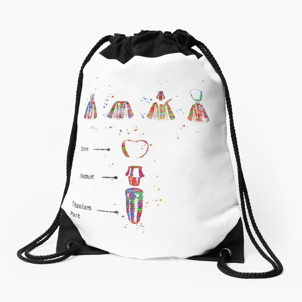 Dental implant procedure, dental anatomy, dental implant Drawstring Bag