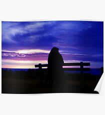 Silhouette on the beach Poster