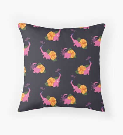 pink elephant summer flower Throw Pillow