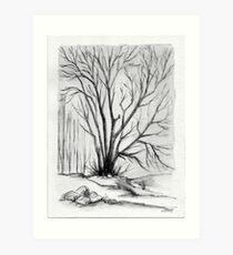 FALL TREE - AQUAREL AND ECOLINE Art Print
