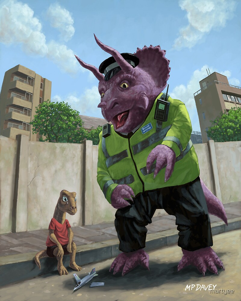 Dinosaur Community Policeman helping youngster by martyee