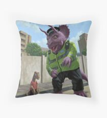 Dinosaur Community Policeman helping youngster Throw Pillow