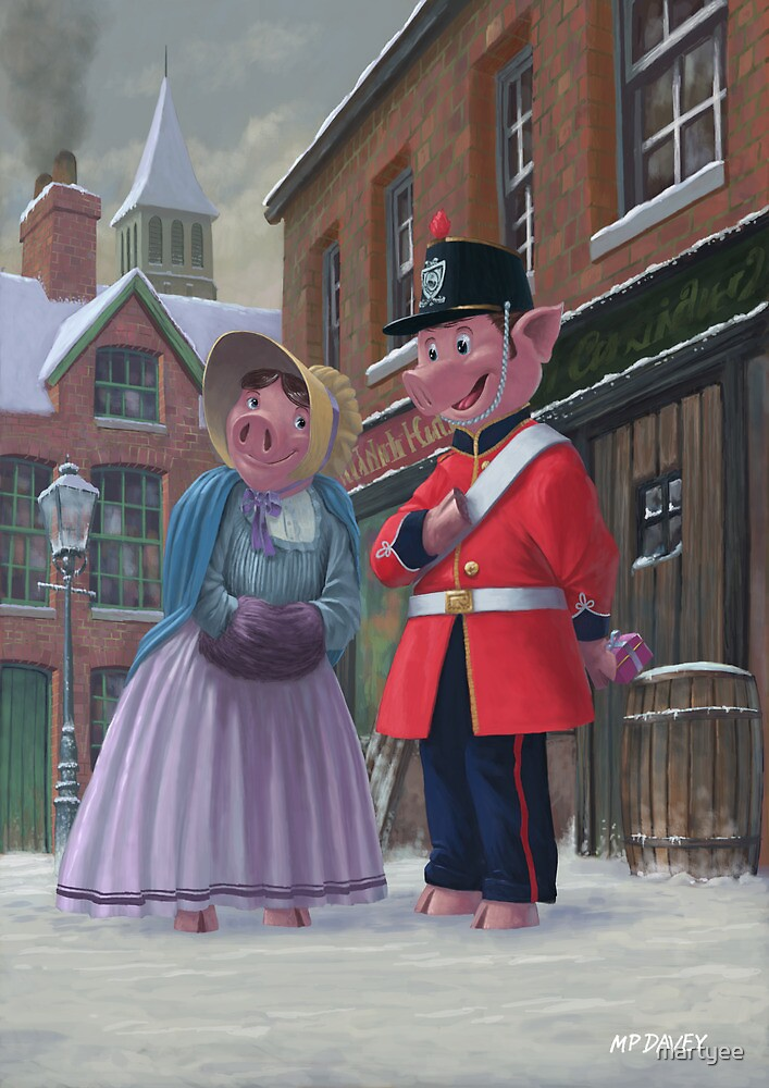 romantic victorian pigs in snowy street by martyee