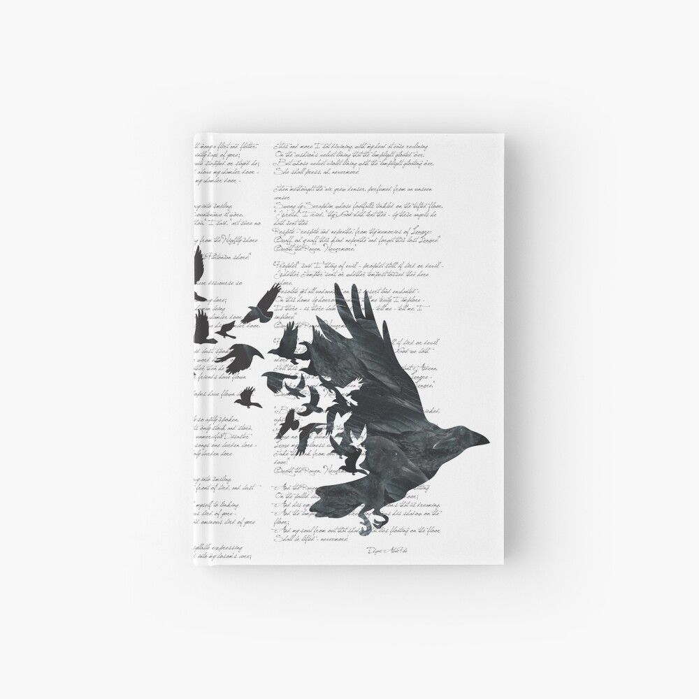 Vintage Style Print with Poem Text Edgar Alan Poe: Edgar Alan Crow Hardcover Journal