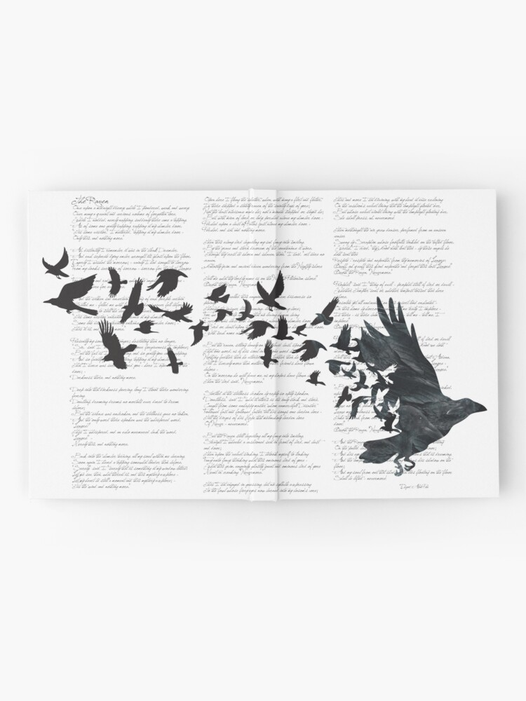 Alternate view of Vintage Style Print with Poem Text Edgar Alan Poe: Edgar Alan Crow Hardcover Journal