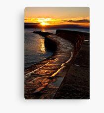 Golden sunrise over Lyme Regis Cobb Canvas Print