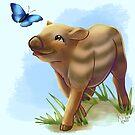 Baby Warthog and Butterfly by Unicornarama