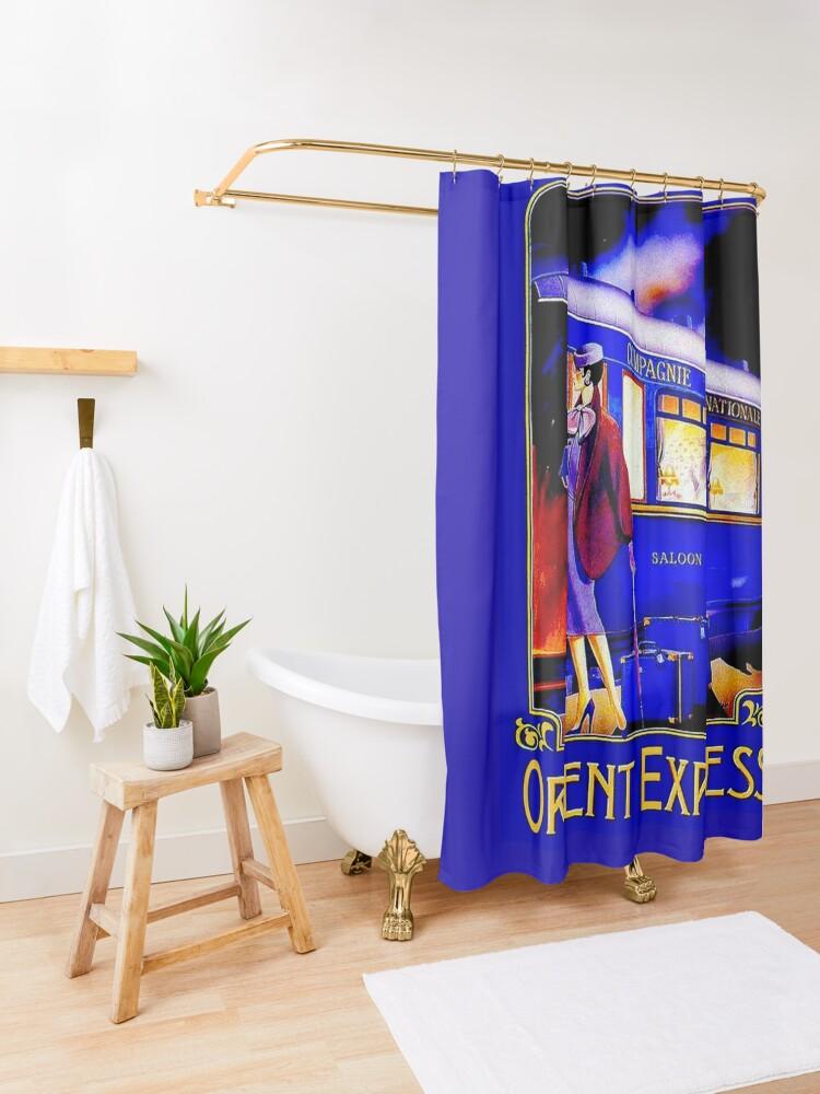 Alternate view of ORIENT EXPRESS: Vintage Train Passenger Travel Print Shower Curtain