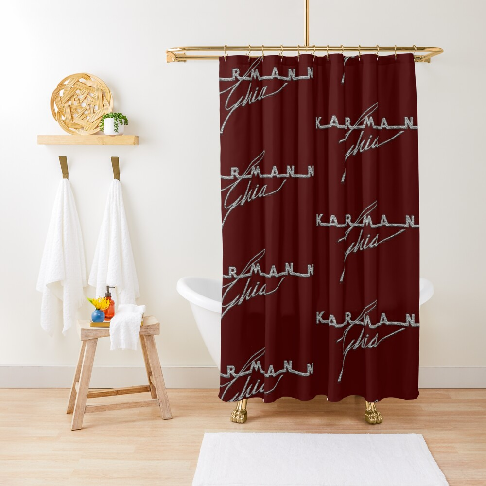 German Automobile Logo Vintage Fifties....the handmade sport coupe body built by Karmann, design by Ghia Shower Curtain