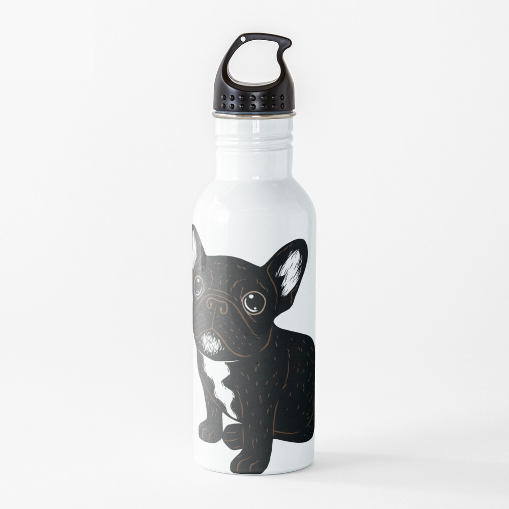 Cute Brindle Frenchie Puppy Water Bottle