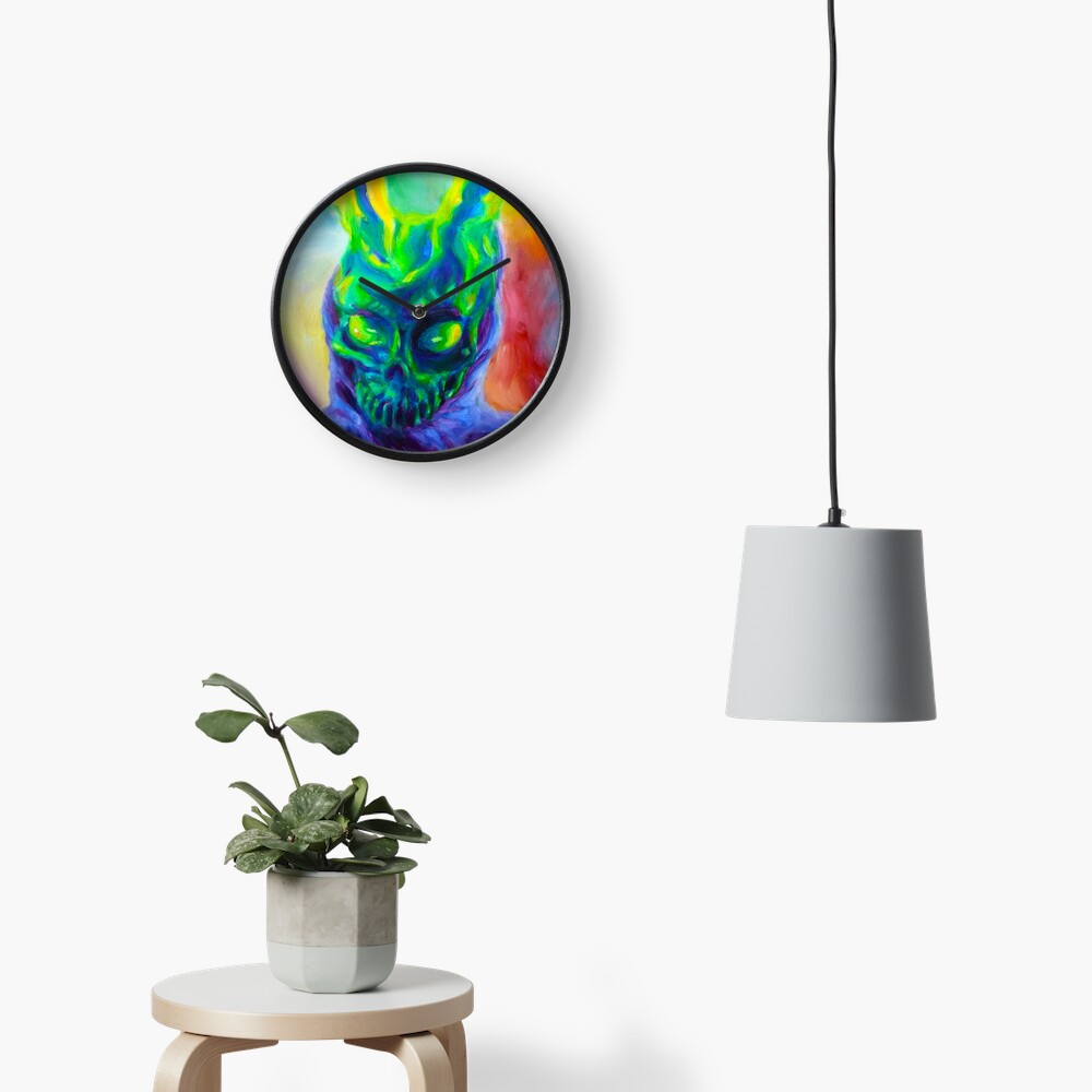 Burn His House Down Acrylic Painting Clock