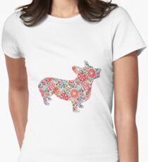 Corgi Preppy Print Women's Fitted T-Shirt