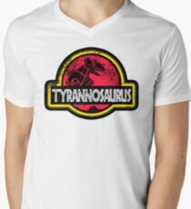 Jurassic Power Red Mens V-Neck T-Shirt