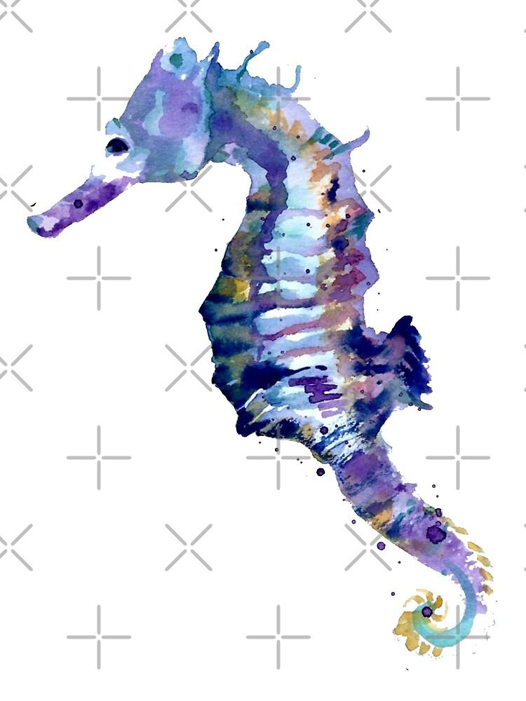 Watercolor Seahorse by megsiev